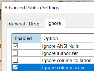Screenshot of ignore column order option