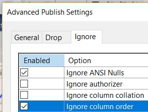 Screenshot of ignore column order option
