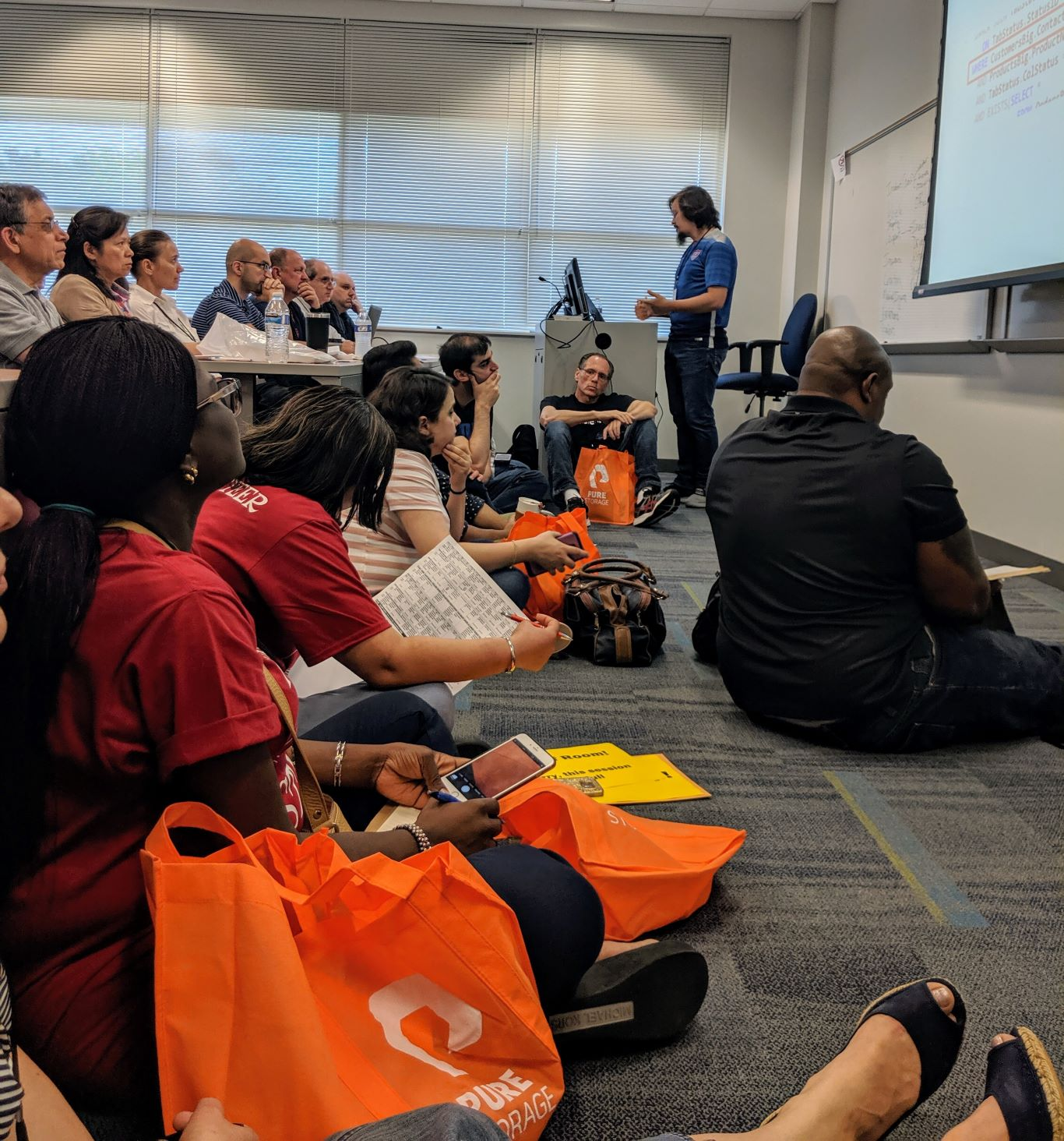Photo of people sitting on the floor in Fabiano's talk