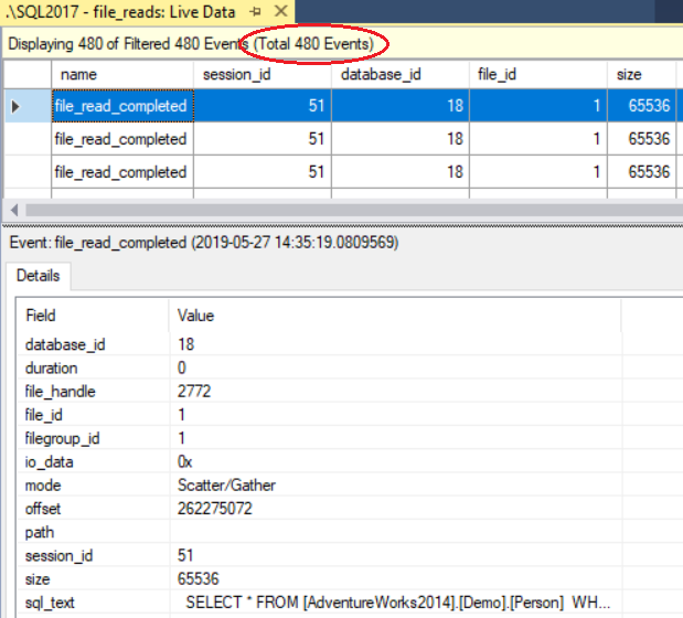 screenshot of live data XE results showing 480 read completed events