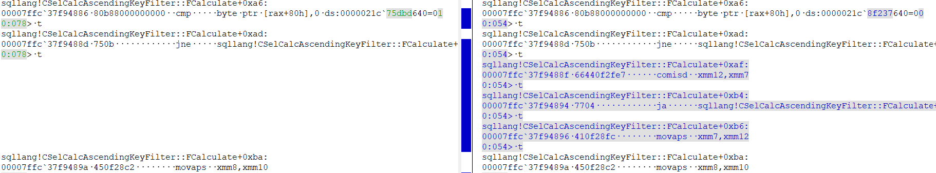 screenshot of KDiff3 showing two different sets of assembly code