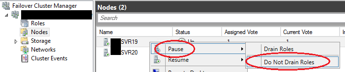 Screenshot of failover cluster manager showing the pause node option