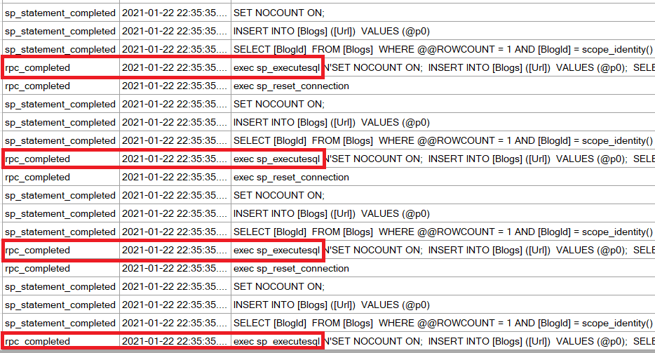 screenshot of XE session output showing 4 rpc_completed events