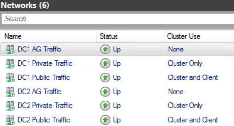 Screenshot of cluster networks in failover cluster manager